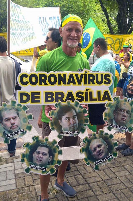 Dieser Zeitgenosse hält die aktuellen Politiker für den Coronavirus Brasiliens... © unbek Post Facebook